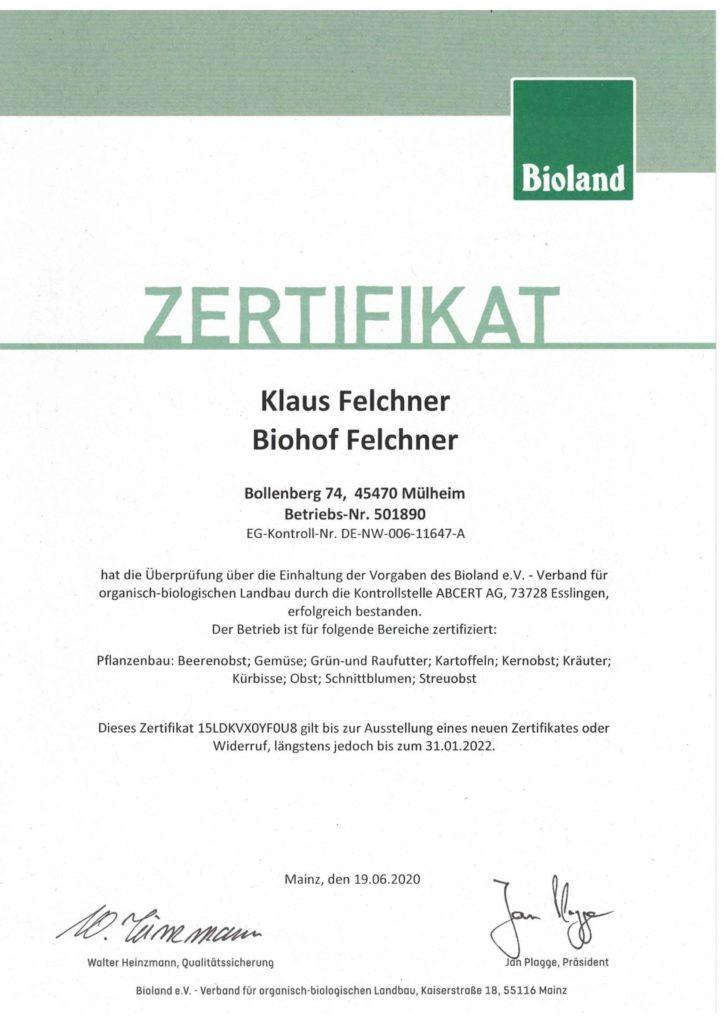Zertifikate - Bioland Zertifikat